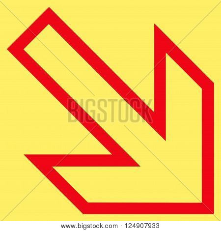 Arrow Right Down vector icon. Style is thin line icon symbol, red color, yellow background.