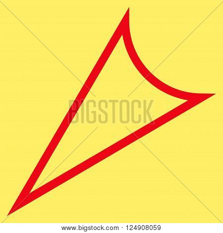 Arrowhead Left Down vector icon. Style is thin line icon symbol, red color, yellow background.