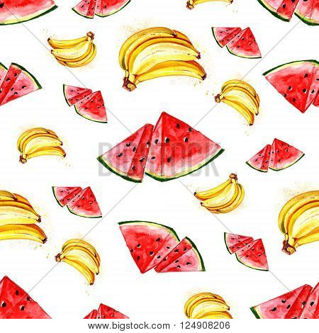Watercolor summer fruit banana and watermelon pattern on white background