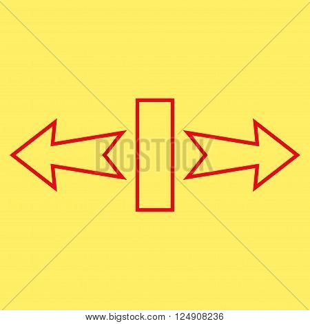 Stretch Arrows Horizontally vector icon. Style is outline icon symbol, red color, yellow background.