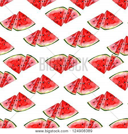 Watercolor summer fruit watermelon pattern on white background