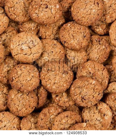 Oatmeal cookies in filled frame format. Top view.