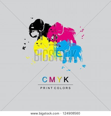 Logo CMYK color model design concept on light gray background. Four multi-colored elephants.  Printing technology emblem.