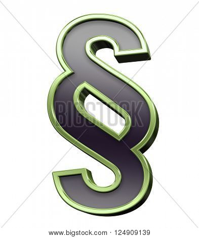 Paragraph sign from black with green shiny frame alphabet set, isolated on white. 3D illustration.