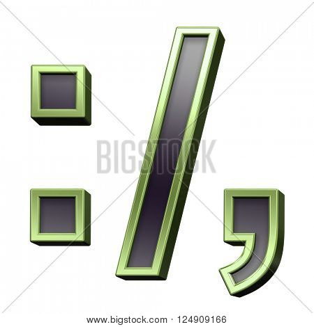 Colon, semicolon, period, comma from black with green shiny frame alphabet set, isolated on white. 3D illustration.