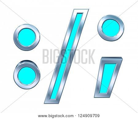 Colon, semicolon, period, comma from blue with silver shiny frame alphabet set, isolated on white. 3D illustration.