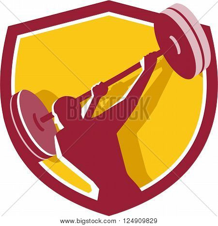 Illustration of a weightlifter lifting swinging barbell looking to the side viewed from rear set inside shield crest on isolated background done in retro style.