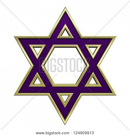 Judaism religious symbol - star of david isolated on white. 3D illustration.
