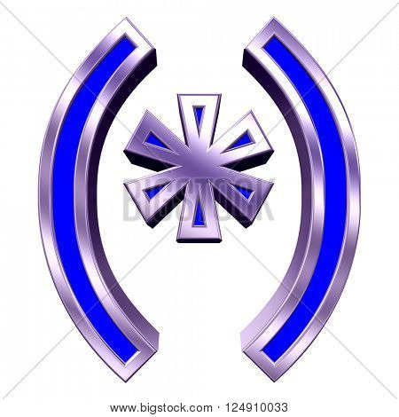 Parenthesis, asterisk from blue with shiny frame alphabet set, isolated on white. 3D illustration.