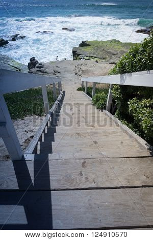 Beach stairway in La Jolla at Windansea Beach