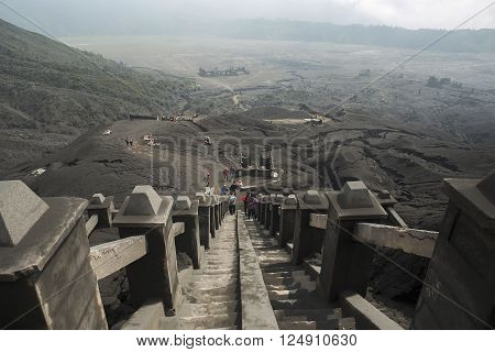 Mt. Bromo volcano walk to the sky at mt. Bromot. Bromo Tengger Semeru National Park East Java Indonesia.