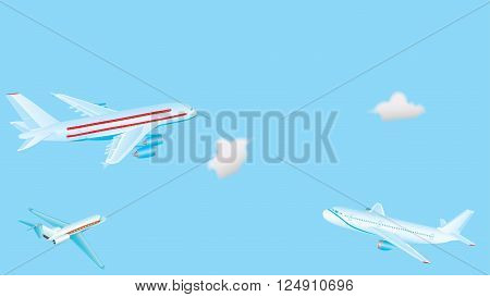 Passenger airplanes. Big passenger airplanes in the sky. Three aircraft are flying in the blue sky with cumulus clouds. Passenger airplane in the clouds. EPS 10