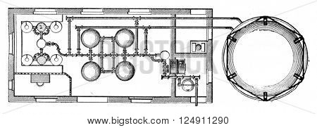 Vertical sections and plan an acetylene plant, vintage engraved illustration. Industrial encyclopedia E.-O. Lami - 1875.