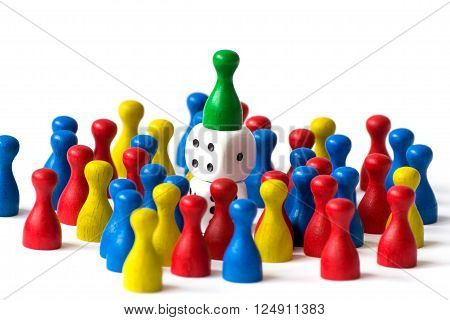 Playing pawns on white background with many colors