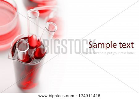 Three test tubes with blood isolated on white background