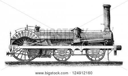 High speed locomotive Crampton, vintage engraved illustration. Magasin Pittoresque 1861.