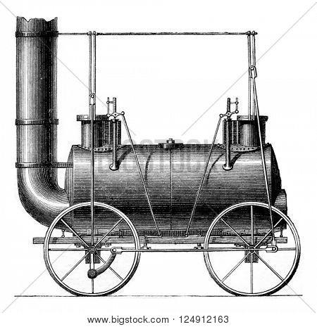 Coupled wheels Locomotive, G. Stephenson, vintage engraved illustration. Magasin Pittoresque 1861.