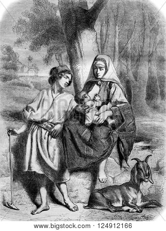 A Family in Bethlehem, vintage engraved illustration. Magasin Pittoresque 1861.