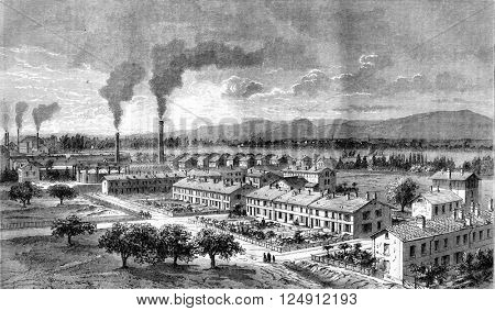 Perspective view of a portion of workers housing in Mulhouse, vintage engraved illustration. Magasin Pittoresque 1861.