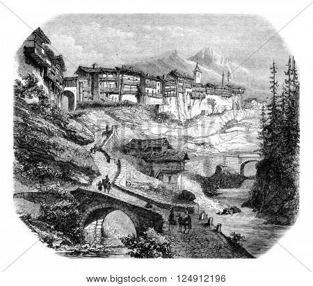 View of Flumet, Savoie, vintage engraved illustration. Magasin Pittoresque 1861.
