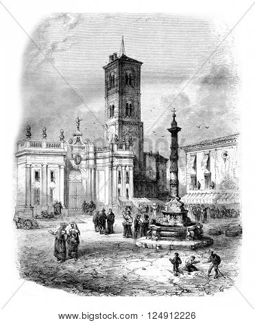 A Fountain in Capua, vintage engraved illustration. Magasin Pittoresque 1861.