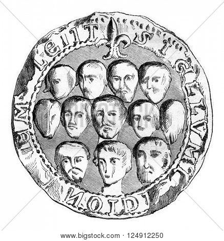 Seal of the municipal assembly of Meulan in 1195, vintage engraved illustration. Magasin Pittoresque 1861.