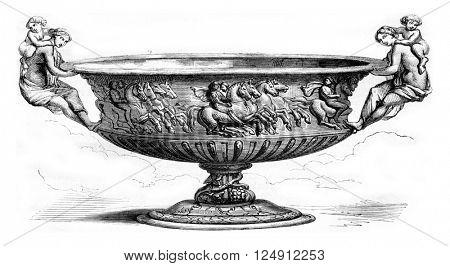 Unpublished drawing of Mr Achille Deveria, vintage engraved illustration. Magasin Pittoresque 1857.