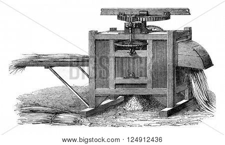 Machine beaten with lotz, vintage engraved illustration. Magasin Pittoresque 1857.