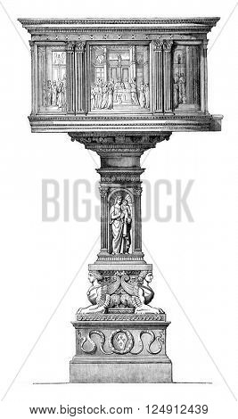 Preaching pulpit in the church cathedral of Pistoia, vintage engraved illustration. Magasin Pittoresque 1857.