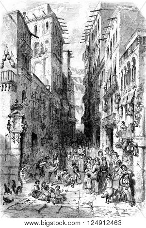 The street bonito da San Lucia, Naples, vintage engraved illustration. Magasin Pittoresque 1861.