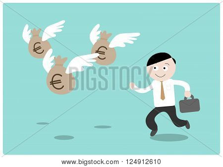 Chasing the Money (Euro), a hand drawn vector illustration of a businessman chasing after flying money bags (all objects on different groups for easy editing).