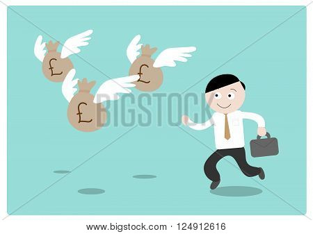 Chasing the Money (Pound Sterling), a hand drawn vector illustration of a businessman chasing after flying money bags (all objects on different groups for easy editing).