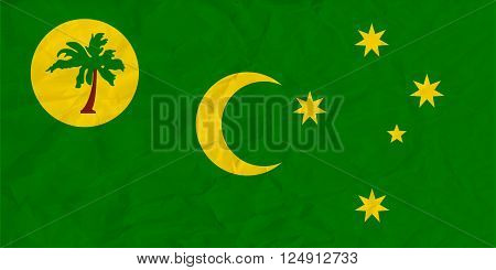Vector image of the Cocos Islands paper flag
