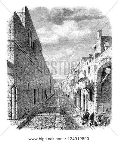 Street of the Knights in Rhodes, vintage engraved illustration. Magasin Pittoresque 1857.