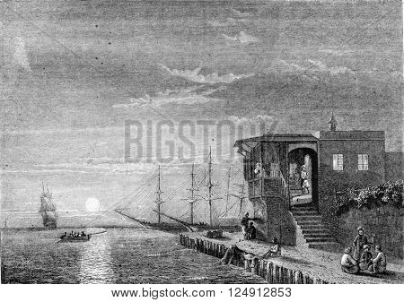 Painting Exhibition of 1857, Turkish coffee to the island of Rhodes, vintage engraved illustration. Magasin Pittoresque 1857.