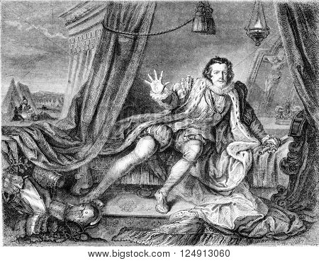 Garrick in the role of Richard III by William Hogarth Painting, Exhibition of art treasures in the United Kingdom in Manchester, vintage engraved illustration. Magasin Pittoresque 1857.