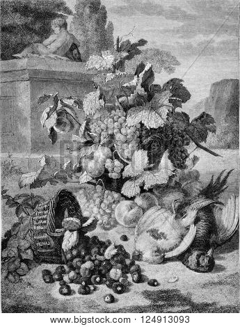 1857 Exhibition of Painting, The Basket of Strawberries overthrown by St. John, vintage engraved illustration. Magasin Pittoresque 1857.
