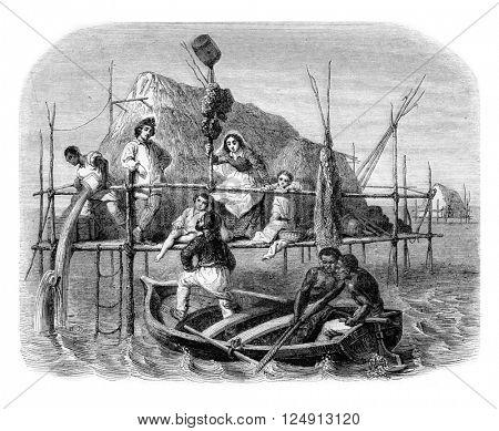 Fishermen sponges, Cuba, vintage engraved illustration. Magasin Pittoresque 1857.