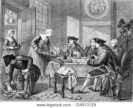 The lunch of oysters, or Lemons Javotte by Jeaurat, vintage engraved illustration. Magasin Pittoresque 1857.