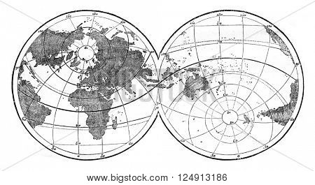 World map featuring evidence the unequal distribution of land and water on the surface of the globe, vintage engraved illustration. Magasin Pittoresque 1847.