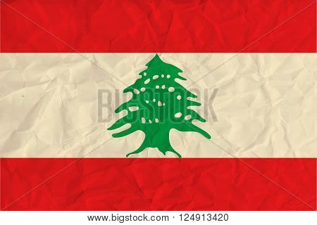 Vector image of the Lebanon  paper flag