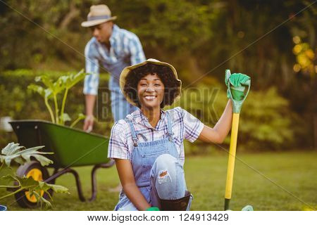 Happy couple gardening together
