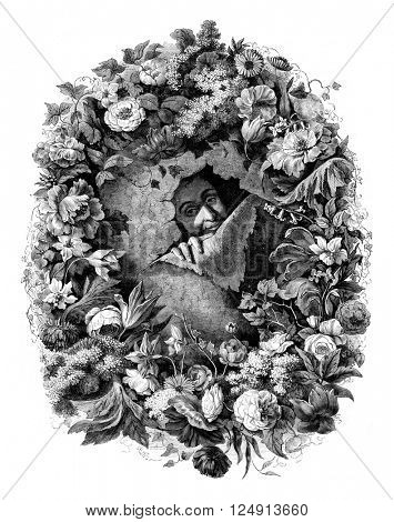 Flower painting Portrait Nicolas Vander Bracht, painted by himself, vintage engraved illustration. Magasin Pittoresque 1847.