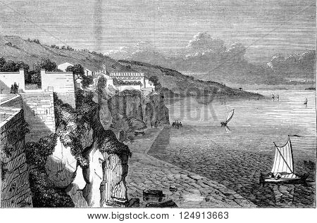 View of Sorrento, the Gulf of Naples, vintage engraved illustration. Magasin Pittoresque 1847.