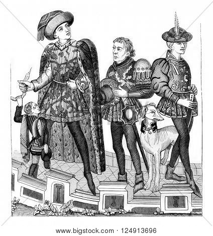 Page, Lord, Messenger and Varlet, vintage engraved illustration. Magasin Pittoresque 1847.