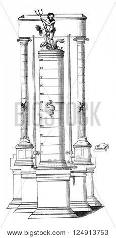 Hydro-magnetic Clock Fountain P Valentin Stansel, vintage engraved illustration. Magasin Pittoresque 1847.