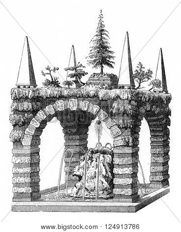 A rustic Fountain, after a draft Salomon de Caus, vintage engraved illustration. Magasin Pittoresque 1847.
