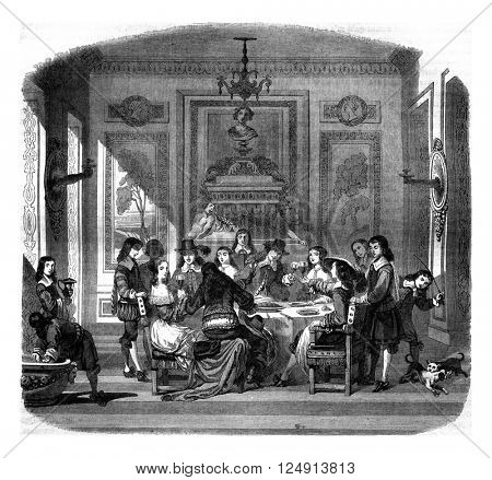 A meal under Louis XIV, vintage engraved illustration. Magasin Pittoresque 1847.