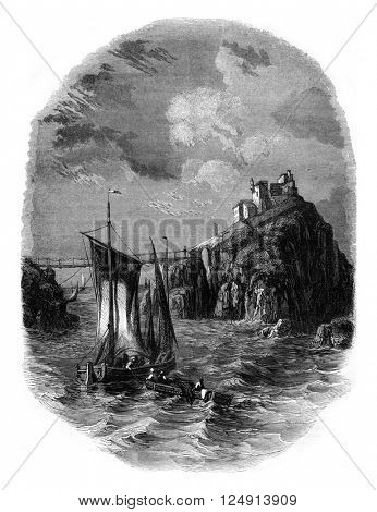 View of Fort Bertheaume, vintage engraved illustration. Magasin Pittoresque 1847.