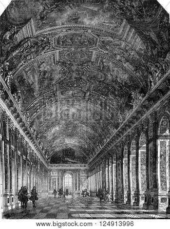 Seventeenth century, The great Hall of Mirrors at the Palace of Versailles, vintage engraved illustration. Magasin Pittoresque 1847.